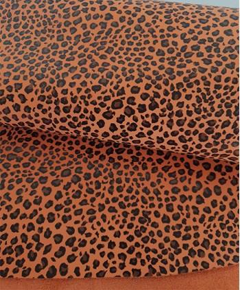 Orange Leopard Print Leather