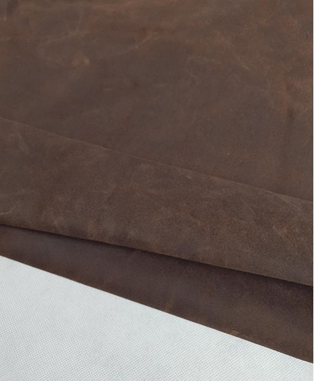 Dark Brown Waxed Rustic Suede